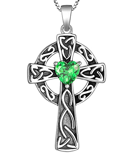 YL Women's Celtic Knot Cross Necklace Sterling Silver Filigree Infinity Pendant Created Emerald Crucifix Jewelry