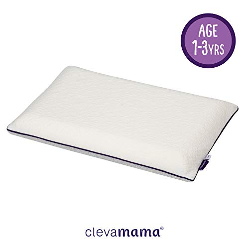 Clevamama ClevaMama ClevaFoam Toddler Pillow, Breathable and Anti-Allergy, Correct Alignment of the Spine, for 1 - 2 - 3 Years kids - White, 50x30 cm 7209