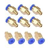 YOTINO 10 Piezas PC4-M6 Conector Neumatico Impresora 3D Recto Ajuste Rápido para Tubo PTFE 4 mm Filamento 1.75 mm