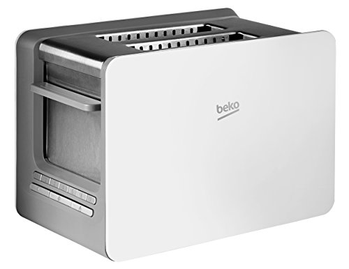 Beko TAM6202W 2 Slice Extra Wide and Deep Slot Modern Style Toaster With Bun Warming Rack - White