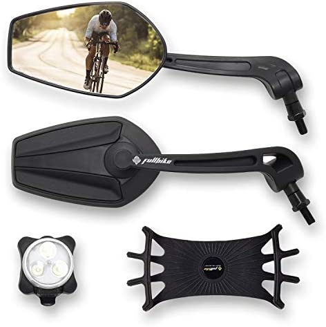 FullBike Bicycle Mirrors for Handlebars Upgraded Bike Mirror Handlebar Mount Set With Rechargeable product image