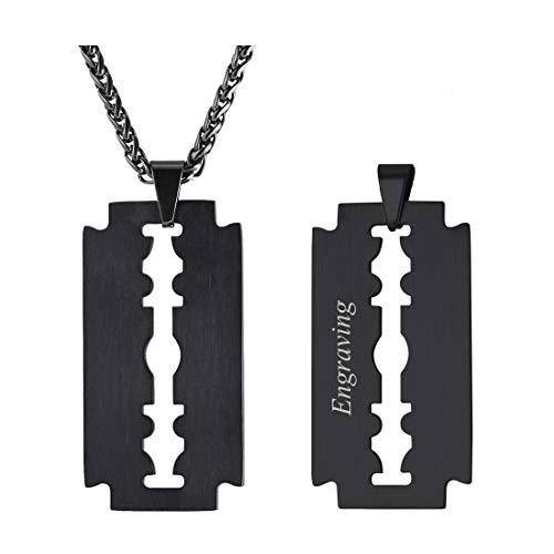 U7 Collar Negro Joyas Hombre Cadena Eslabones...