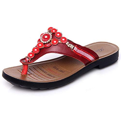 Chanclas para MujerPlaya Piscina,Chanclas de Playa Flip Toe, Zapatillas de Diamantes de imitación Antideslizantes de Fondo Plano-Rojo_39,Verano Flip-Flop Sandalias Planas,