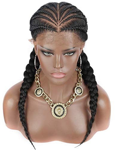 """Kalyss 13x6"""" Fully Top Braided Lace Front Cornrow Braided Wigs with 2 Ponytails Lightweight Synthetic Lace Frontal Twisted Wigs with Baby Hairs for Women"""