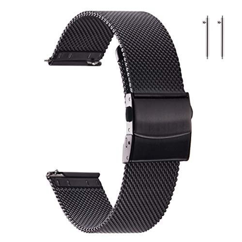 EACHE Stainless Steel Mesh Watch Bands for Men Quick Release Mesh Watch Straps 22mm Black for Samsung Active 2