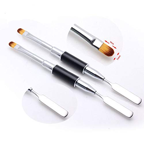 2 Stks Dual-Ended PolyGel Penseel en Slice Shape Nagel Spatel Picker,2 in 1 Professionele Nagel Kunst Penseel Pen voor Acryl UV Poly Gel Nagels Verlenging