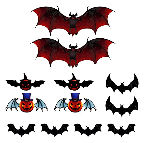 GGCG Dorca de Halloween Decoración de la Pared PVC 3D Pegatinas de Pared de murciélagos de Miedo...