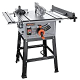 Table Saw, 10-Inch 15-Amp Table Saw, Cutting Speed up to 4800RPM, Aluminum Extension Table, 24T Blade, 45ºBevel Cutting, Jobsite Table Saw with Stand, Miter Gauge, Push Bar - MTS01A
