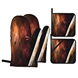 Oven Mitts and Pot Holders 4pcs Set,Space Scene Orange Violet Nebula Planet,Heat Resistant Non-Slip Kitchen Oven Gloves Mitten Cooking Gloves for Kitchen, Cooking, Baking, BBQ Grilling