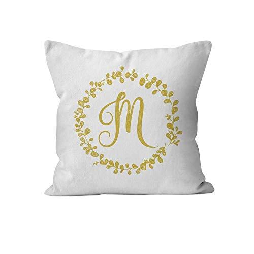43LenaJon Fundas de almohada de lino y algodón, diseño de corona de eucalipto mostaza, funda de almohada con inicial, funda de almohada