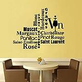 Proverbes restaurant de vin français stickers muraux cuisine décor à la maison PVC art étanche papier peint