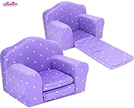 Sophia's Purple Polka Dot Doll Furniture Pull Out Chair Bed Plush Chair for Dolls Converts to Single Bed for 18 Inch Dolls and Plush