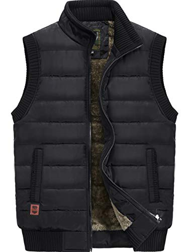 XinYangNi Men's Winter Warm Outdoor Padded Puffer Vest Thick Fleece Lined Fishing Sleeveless Jacket Black US 2XL/Asia 6XL