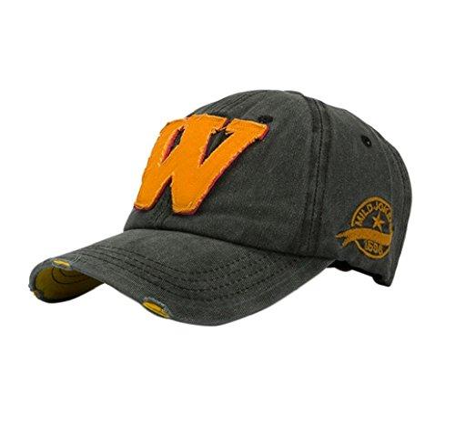 Tongshi Snapback Hüte Unisex: Sommer Buchstabe W Hockey Baseball Caps Hip Hop Hüte (Schwarz)