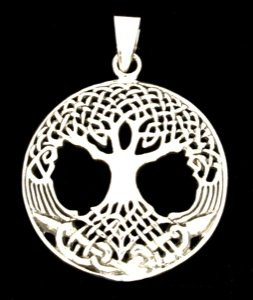 Colgante de mundos de madera de fresno de mesa colgante de la joyería de la céltico ketisches símbolo de plata de Ley de 925 céltico