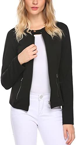 SE MIU Women Stand Neck Long Sleeve Solid Front Zipper Up Down Jacket with Pocket