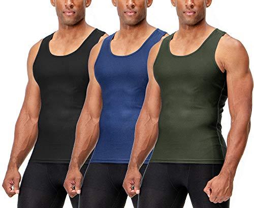 DEVOPS 3 Pack Men's Muscle Dri Fit Compression Tank Top (X-Large, Black/Olive/Navy)