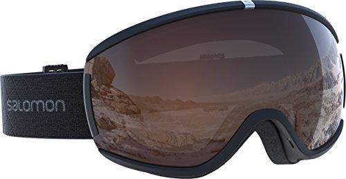 Salomon Damen iVY Access Skibrille, für verschiedenste Wetterverhältnisse, orangefarbene Scheibe mit Flash-Beschichtung (auswechselbar), Airflow System, schwarz, L39905800