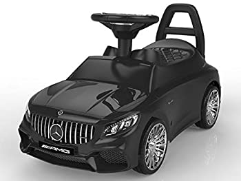 POCO DIVO Ride-on Toy Licensed Mercedes-Benz AMG Baby Racing Car 3in1 Walker Toddler Gliding Scooter Pulling Cart with Sound & Light Black