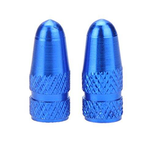TOOGOO(R) Valvula Tapa 2pzs Cubierta de Boca de Valvula de Frances de Bicicleta Bicicleta de MTB de aleacion de Aluminio Tapon Antipolvo de Valvula de Aire de Llantas vastago Rueda neumatico Azul