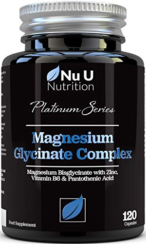 Magnesium Glycinate with Vitamin B6, Zinc and Pantothenic Acid - 250mg Elemental Magnesium from Chelated Magnesium - 120 Magnesium Bisglycinate Capsules - Vegan & Vegetarian