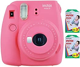 Fujifilm Instax Mini 9 Instant Camera (Flamingo Pink) with 2 x Instant Twin Film Pack (40 Exposures)