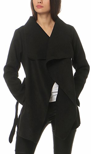 Malito Damen Mantel kurz mit Wasserfall-Schnitt | Trenchcoat mit Gürtel | weicher Dufflecoat | Parka - Jacke 3041 (schwarz)