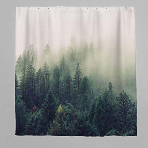 Wald Duschvorhang Anti-Schimmel Tropische Wälder Grüne Blätter Bad Curtians Polyester Stoff mit Duschvorhangringe für Badezimmer Grün 120x200cm