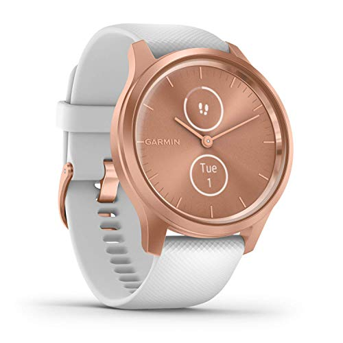 Garmin Vivomove Style Hybrid Smartwatch with Real Watch Hands and Hidden Colour Touchscreen Display, White Silicone with Rose Gold Hardware