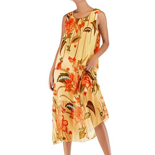 LEEDY Mujer Verano Cuello Redondo Casual Boho Imprimir Playa Estilo De Vacaciones Vestido Gasa Columpio Vestido Largo Amarillo