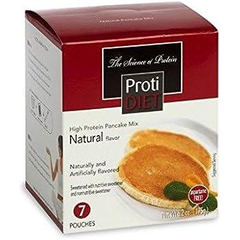 ProtiDiet Natural Pancake Mix (7 pouches of 0.882 oz, net 6.2 oz) - High Protein Natural Flavored Pancake Mix