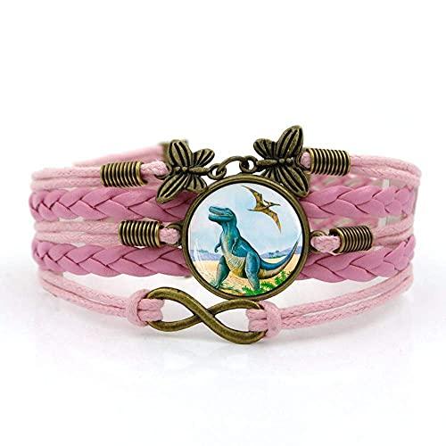 Pulseira de tecido JUNWEN, corda rosa dinossauro Overlord Jurassic, pulseira de pedras preciosas do tempo, combinação de vidro entrelaçada à mão, joias femininas fashion estilo europeu e americano