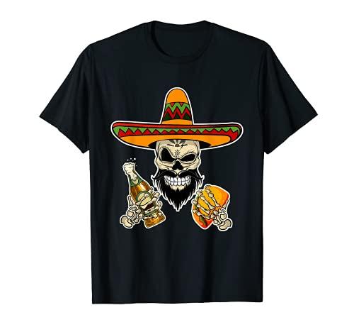 Divertido cráneo mexicano de azúcar con Tacos y cerveza Camiseta