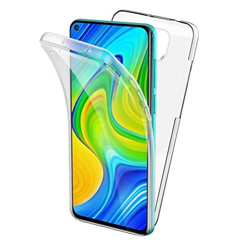 Oududianzi Funda para Xiaomi Redmi Note 9, 360 Grados Protección Diseñada, Transparente Ultrafino Silicona TPU Frente y PC Back Carcasa Belleza Original Funda de Doble Protección - Transparente