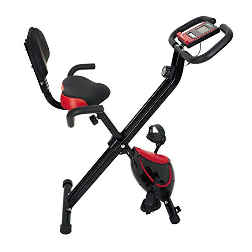 QLGRXWL Bicicleta estática, Home Trainer con Respaldo, Plegable, Negro