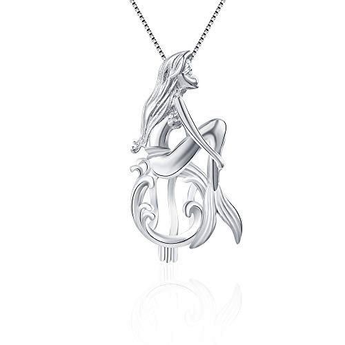 LGSY Sterling Silver Enchanted Mermaid Pearl Cage Pendants for Women, Design Pearl Cage Pendants for Pearl Jewelry Making, Essential Oil Diffuser Lockets for Pearl Jewelry