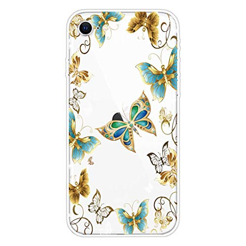 Miagon Transparent Case for iPhone SE 2020,Gold Butterfly Pattern Creaive Funny Clear Soft Ultra-Thin Flexible Silicone Drop-Protection Fully Protective Cover Case