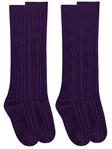 Jefferies Socks Girls Cable Knit Pattern Fashion Multicolor Knee High Socks 2 Pair Pack (S - USA Shoe 9-1 - 3-7 Years, Plum)