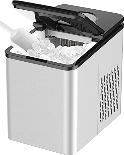 SOOPYK Ice Makers Countertop | Portable Ice Maker Cube | 27 lbs in 24 hrs | 9 Ice Cubes Per 5-7 Mins | Ice Maker Machine | Self- Cleaning Function | Ice Scoop and Basket,Stainless Steel