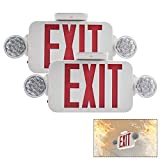 【2 Pack】UL Certified EXIT Sign with Emergency Light Red EXIT Compact Combo Hardwired High Output
