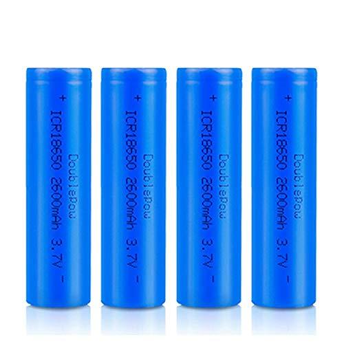 kally 18650 Piles 3,7 V ICR 2600 MAh Li-ION Haute Capacité Piles Rechargeable Lampe Poche Portable Batteries de Rechanges 1200 Cycles Longue Vie (Haut-Plat, Lot de 4)