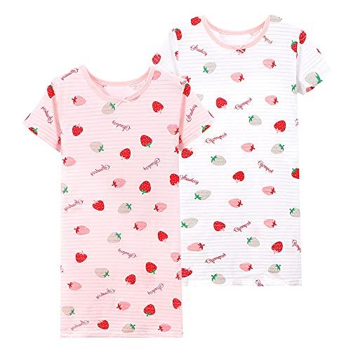 L PATTERN Camisón Algodón para Niñas Pijamas Suaves Vestidos de Noche Largos Camisón Ropa de Dormir con Estampado de Dibujos Animados, Rosa y Blanca, 7-8 Años