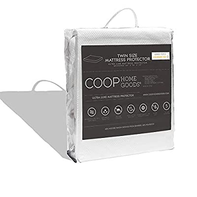 Coop Home Goods Ultra Luxe Bamboo derived Viscose Rayon Mattress Pad Protector Cover by Cooling Waterproof Hypoallergenic Topper- Queen - White