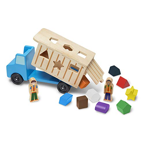 Melissa & Doug Shape-Sorting Wooden Dump Truck Toy