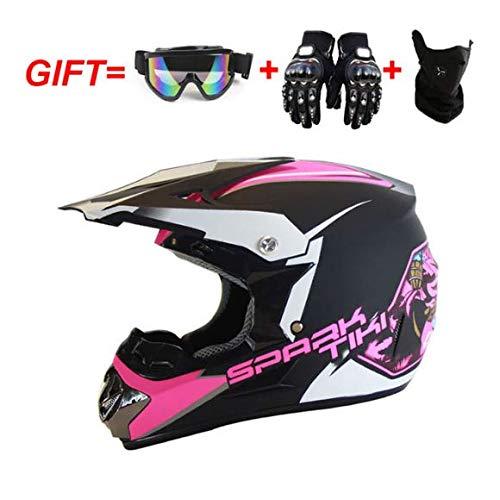 Motorradhelm Full Face Motocross Crash Offroad Helm Racing DOT Approved Free Windproof Schutzbrille Brille Maske Handschuhe für Männer Frauen,Rosa,L