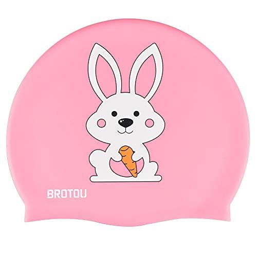 BROTOU - Cuffia da Nuoto per Bambini, Impermeabile, per Bambini e Bambine, Capelli Lunghi e Corti, Colore: Rosa.