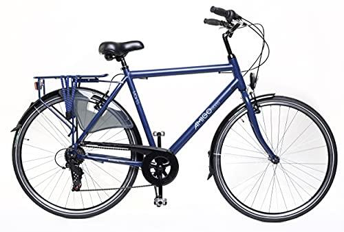 Amigo Moves - Bicicleta de Cuidad de 28 Pulgadas para Hombres - Adecuada para Alguien a Partir de 170-175 cm - Engrenaje Shimano Nexus con 6 velocidades - con V-Brakes, iluminación y estándar - Azul