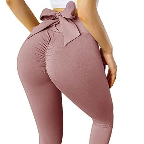 Adicloz Leggins Donna Sportivi Anticellulite con Fiocco, Pantaloni da Yoga Fitness Vita Alta, Leggings Compressione per Palestra Push up, Yoga Pants Controllo della Pancia Opaco Super Elastici