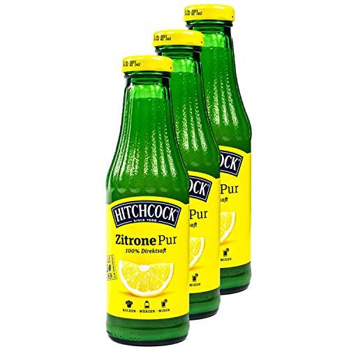 Hitchcock - 3er Pack Premium Zitronensaft Zitrone Pur 100% Direktsaft - Saft aus ca. 15 Zitronen in 0,5 Liter Glasflasche