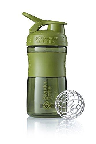 BlenderBottle Sportmixer Tritan Trinkflasche mit BlenderBall, geeignet als Protein Shaker, Eiweißshaker, Wasserflasche oder für Fitness Shakes, BPA frei, skaliert bis 500 ml, 590 ml, moos grün